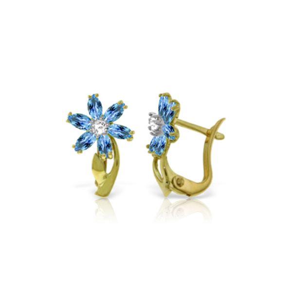 Genuine 1.10 ctw Blue Topaz & Diamond Earrings 14KT Yellow Gold - REF-36K3V