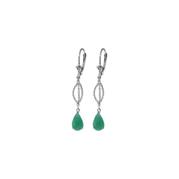 Genuine 2 ctw Emerald Earrings 14KT White Gold - REF-63V3W