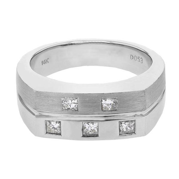 Natural 0.53 CTW Princess Diamond Ring 14K White Gold - REF-130N5Y