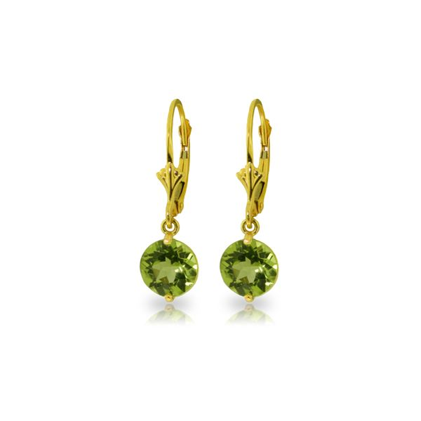 Genuine 3.1 ctw Peridot Earrings 14KT Yellow Gold - REF-34N5R