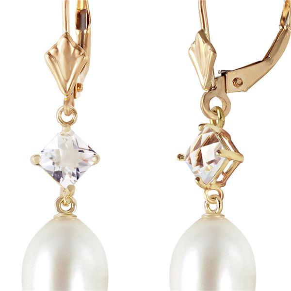 Genuine 9 ctw White Topaz Earrings 14KT Yellow Gold - REF-29P7H