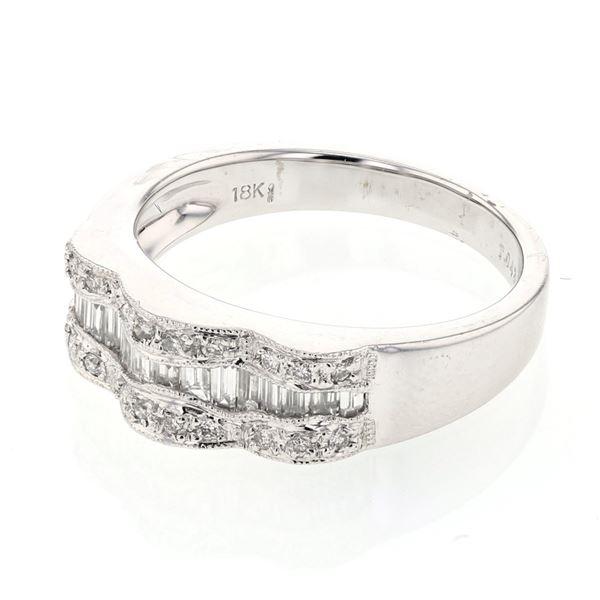 Natural 0.57 CTW Baguette & Diamond Ring 18K White Gold - REF-111T6X