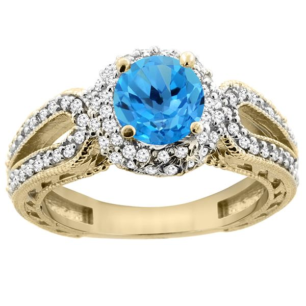 1.50 CTW Swiss Blue Topaz & Diamond Ring 14K Yellow Gold - REF-86A9X