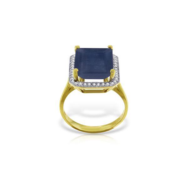 Genuine 6.6 ctw Sapphire & Diamond Ring 14KT Yellow Gold - REF-114X8M