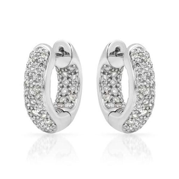 Natural 0.94 CTW Diamond Earrings 14K White Gold - REF-113N4Y