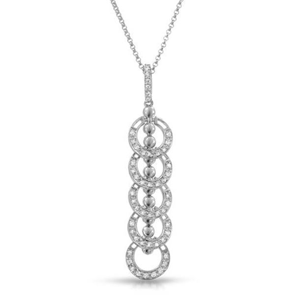 Natural 0.43 CTW Diamond Necklace 14K White Gold - REF-50K4R