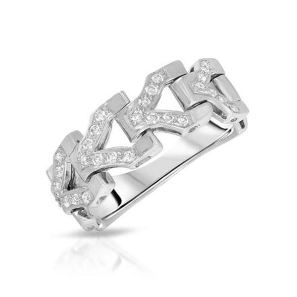 Natural 0.27 CTW Diamond Ring 18K White Gold - REF-80W3H