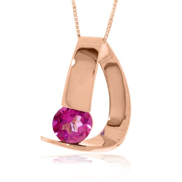 Genuine 1 ctw Pink Topaz Necklace 14KT Rose Gold - REF-50W7Y