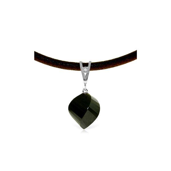 Genuine 15.51 ctw Black Spinel & Diamond Necklace 14KT White Gold - REF-39Z2N