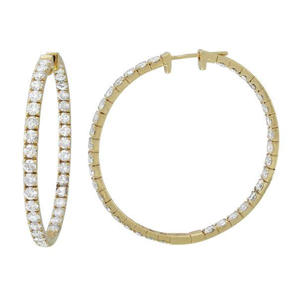 Natural 6.08 CTW Diamond Earrings 14K Yellow Gold - REF-687K6R