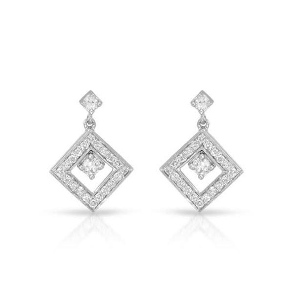 Natural 0.50 CTW Diamond Earrings 14K White Gold - REF-58F5M
