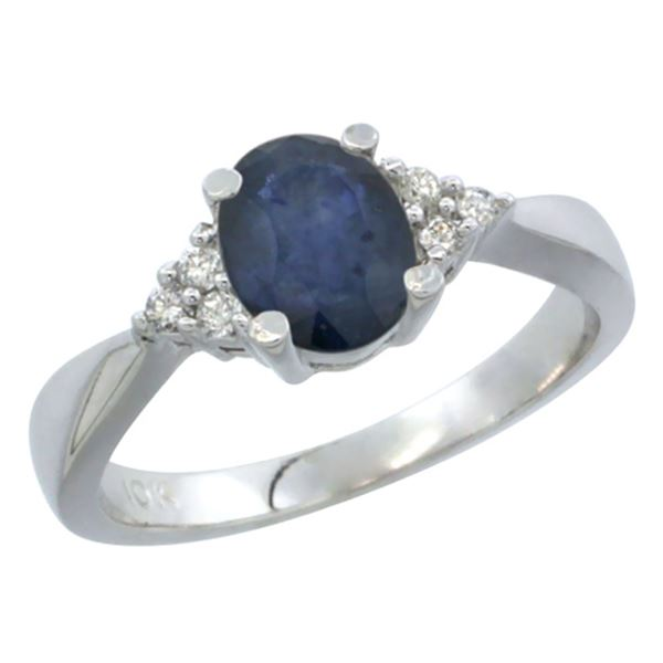 1.20 CTW Blue Sapphire & Diamond Ring 14K White Gold - REF-36W6F