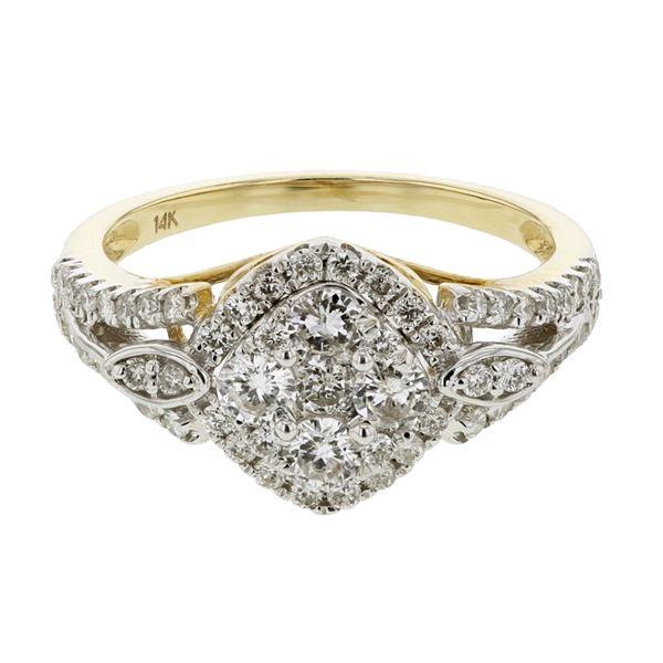 Natural 0.95 CTW Diamond Ring 14K Yellow Gold - REF-113W4H