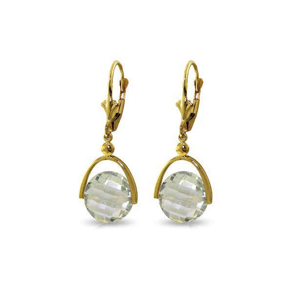 Genuine 6.5 ctw Green Amethyst Earrings 14KT Yellow Gold - REF-43X2M