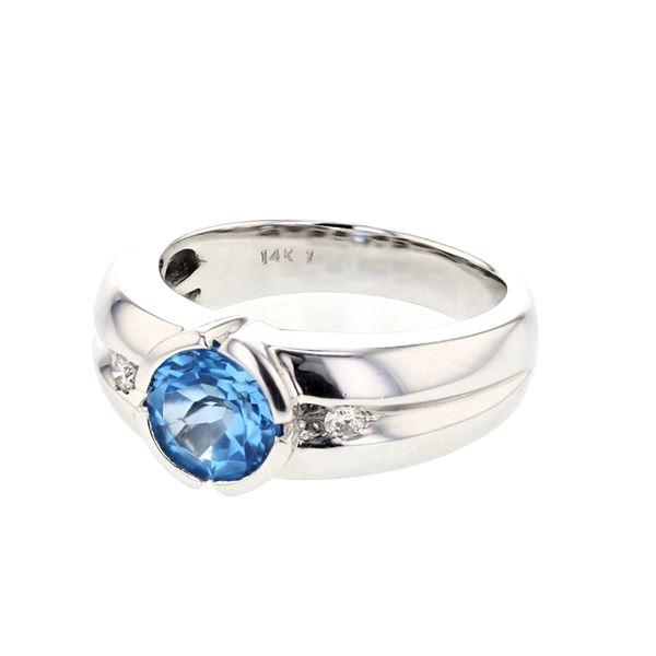 Natural 1.63 CTW Topaz & Diamond Ring 14K White Gold - REF-58K5R