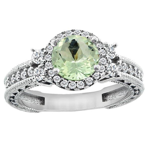 1.46 CTW Amethyst & Diamond Ring 14K White Gold - REF-77W4F