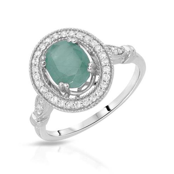 Natural 1.60 CTW Emerald & Diamond Ring W=13MM 14K Gold - REF-63W2H