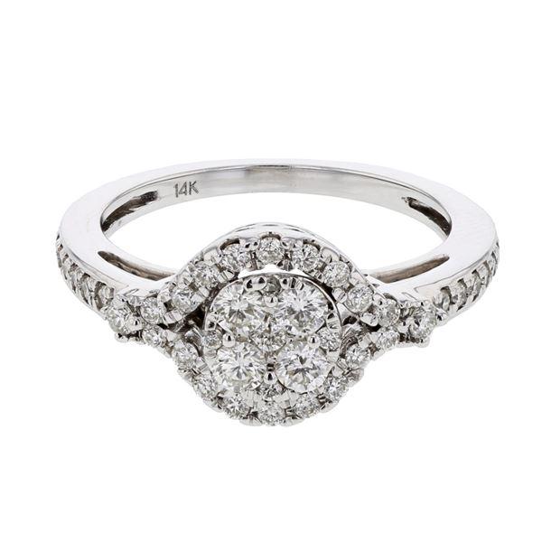 Natural 0.56 CTW Diamond Ring 14K White Gold - REF-87W3H