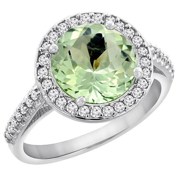 2.44 CTW Amethyst & Diamond Ring 14K White Gold - REF-56M2A