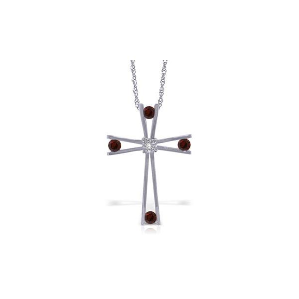 Genuine 0.43 ctw Garnet & Diamond Necklace 14KT White Gold - REF-76Y7F