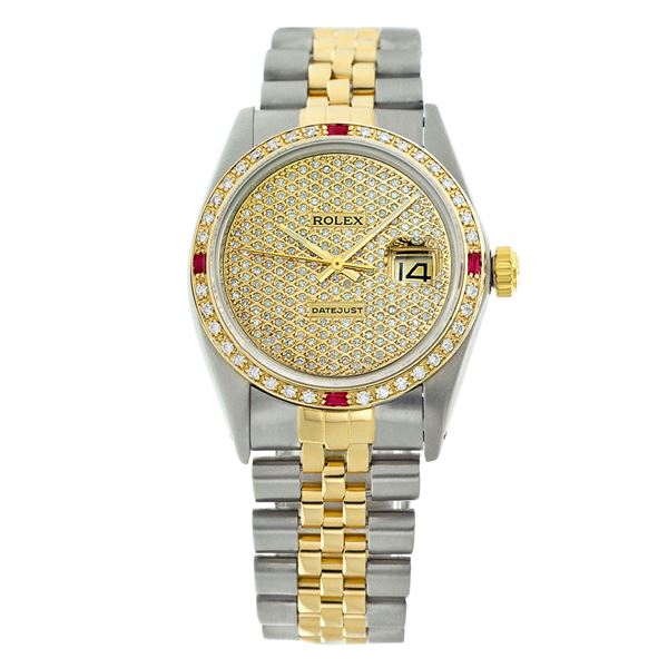 Rolex Pre-owned 36mm Mens Pave Diamond Dial Two Tone