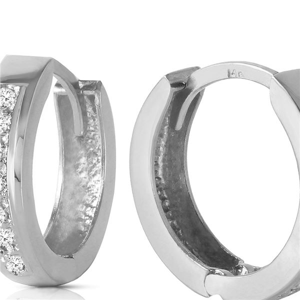 Genuine 0.07 ctw Diamond Anniversary Earrings 14KT White Gold - REF-43Y2F