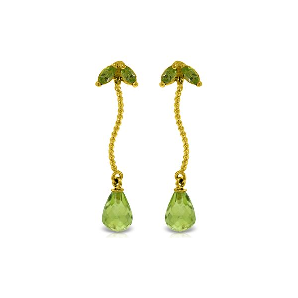 Genuine 3.4 ctw Peridot Earrings 14KT Yellow Gold - REF-21F6Z
