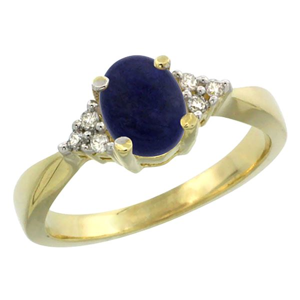 0.81 CTW Lapis Lazuli & Diamond Ring 14K Yellow Gold - REF-37R5H
