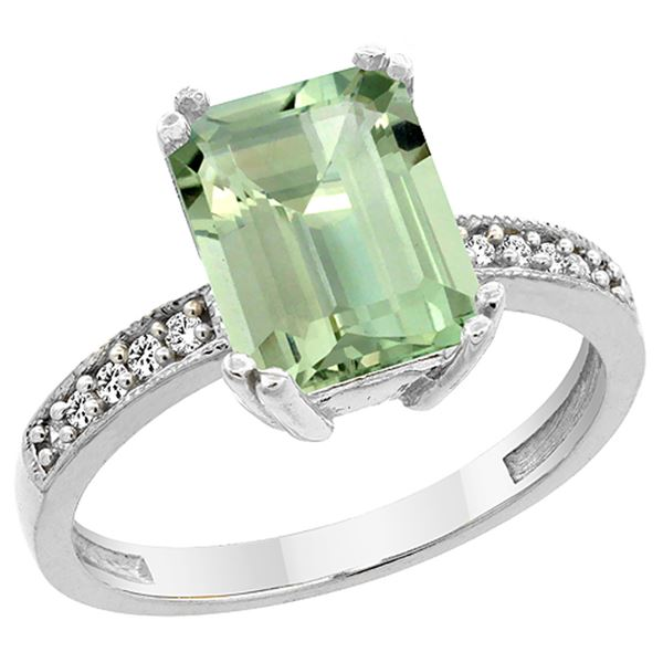 3.70 CTW Amethyst & Diamond Ring 14K White Gold - REF-40V2R