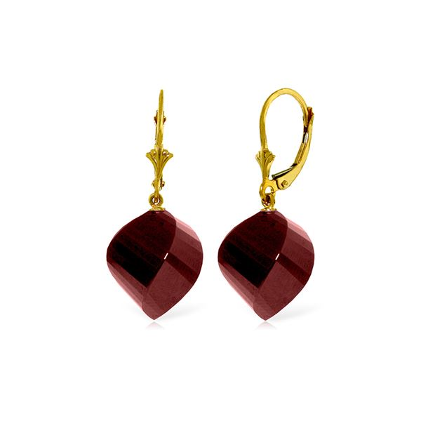 Genuine 30.5 ctw Ruby Earrings 14KT Yellow Gold - REF-44T4A