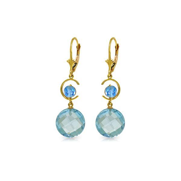 Genuine 11.60 ctw Blue Topaz Earrings 14KT Yellow Gold - REF-47R5P