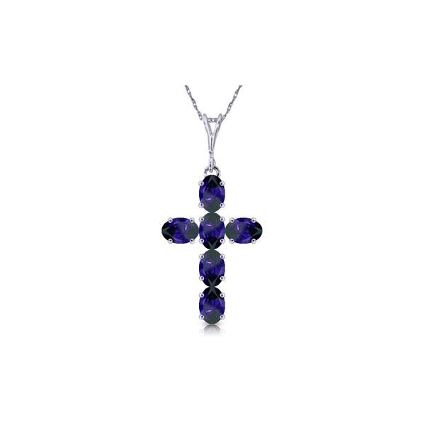 Genuine 1.50 ctw Sapphire Necklace 14KT White Gold - REF-36Y5F
