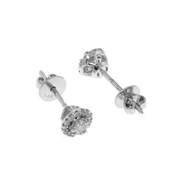 Genuine 0.16 ctw Diamond Anniversary Earrings 14KT White Gold - REF-54T5A