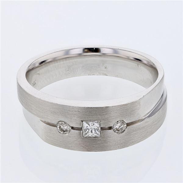 Natural 0.28 CTW Princess Diamond Ring 14K White Gold - REF-124N2Y