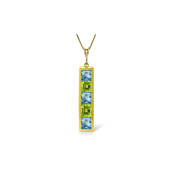 Genuine 2.25 ctw Blue Topaz & Peridot Necklace 14KT Yellow Gold - REF-36M9T