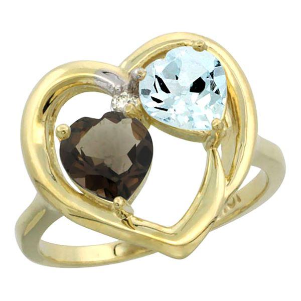 2.61 CTW Diamond, Quartz & Aquamarine Ring 10K Yellow Gold - REF-27X9M