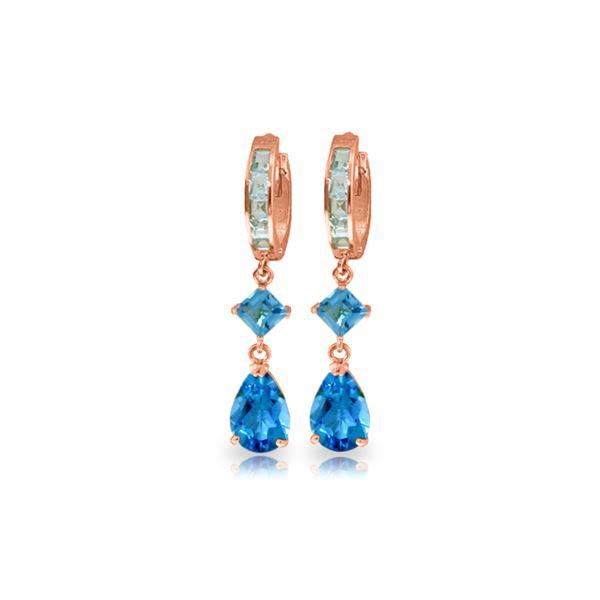 Genuine 5.62 ctw Blue Topaz Earrings 14KT Rose Gold - REF-62T2A