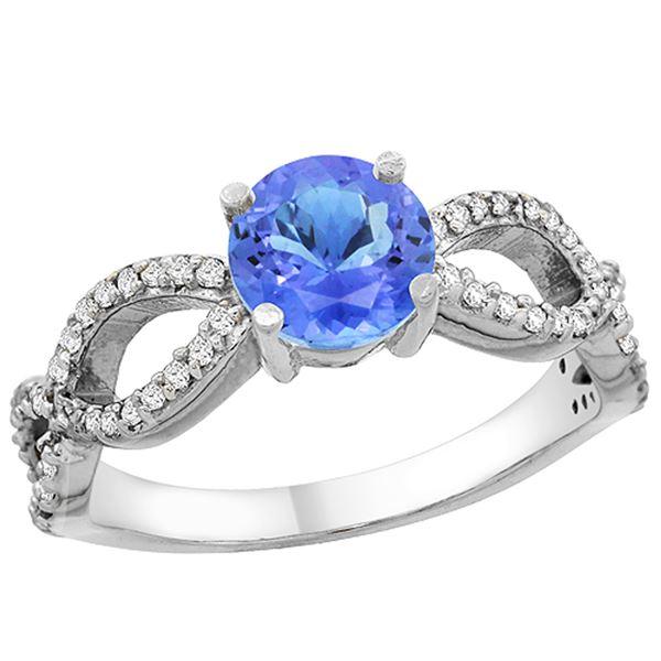 1.09 CTW Tanzanite & Diamond Ring 10K White Gold - REF-56X7M