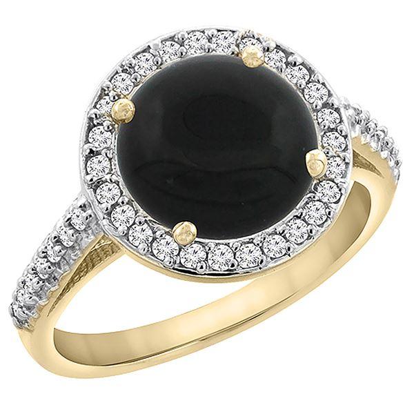 2.76 CTW Onyx & Diamond Ring 10K Yellow Gold - REF-54Y9V