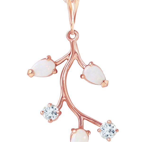 Genuine 0.60 ctw Opal & Aquamarine Necklace 14KT Rose Gold - REF-32Z8N