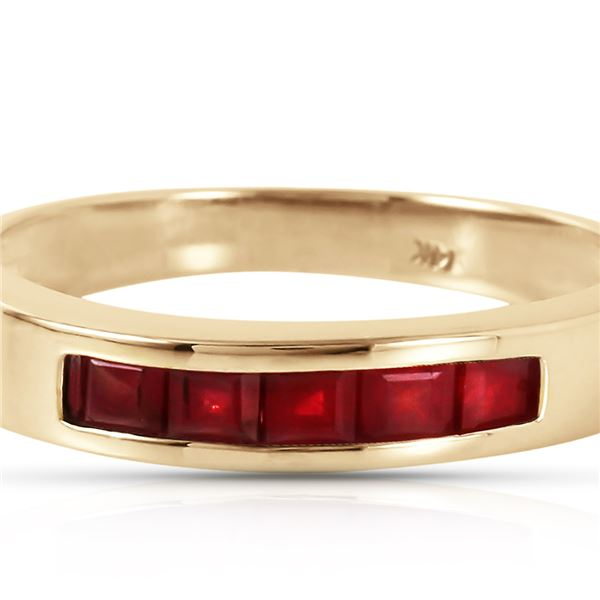 Genuine 0.60 ctw Ruby Ring 14KT Yellow Gold - REF-47M5T