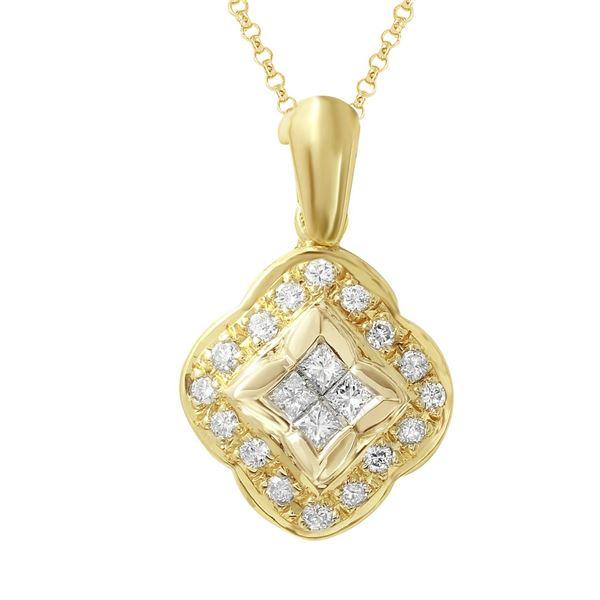 Natural 0.62 CTW Diamond & Princess Diamond Pendant 18K Yellow Gold - REF-144F9M