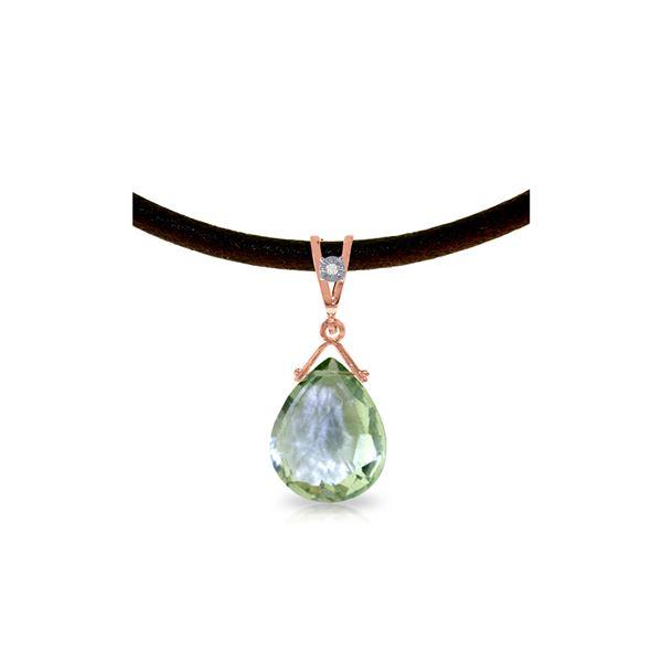 Genuine 6.51 ctw Green Amethyst & Diamond Necklace 14KT Rose Gold - REF-26R9P