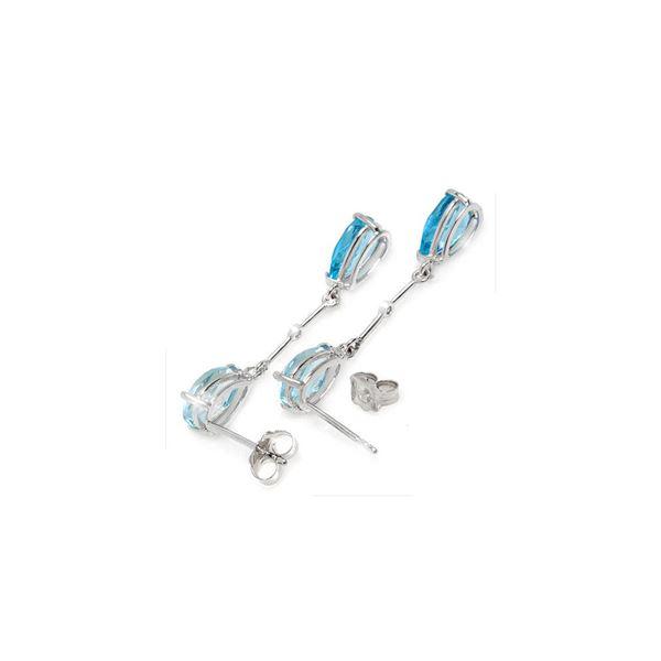 Genuine 7.01 ctw Blue Topaz & Diamond Earrings 14KT White Gold - REF-33R8P
