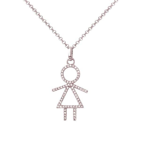 Natural 0.24 CTW Diamond Necklace 14K White Gold - REF-34K2R