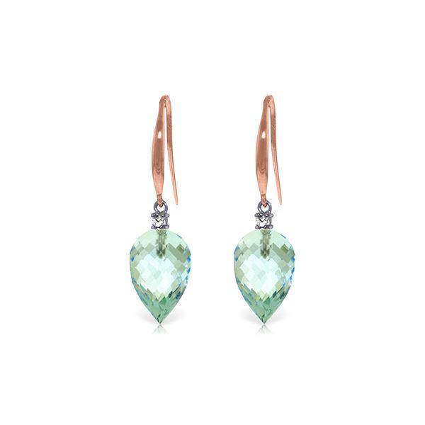 Genuine 22.6 ctw Blue Topaz & Diamond Earrings 14KT Rose Gold - REF-57K6V