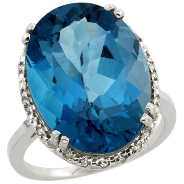 13.71 CTW London Blue Topaz & Diamond Ring 14K White Gold - REF-63R5H