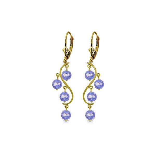 Genuine 4 ctw Tanzanite Earrings 14KT Yellow Gold - REF-74R2P