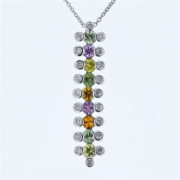 Natural 1.69 CTW Multi-Sapphire & Diamond Necklace 14K Gold - REF-64N8Y