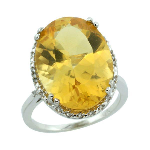 13.71 CTW Citrine & Diamond Ring 14K White Gold - REF-59F4N